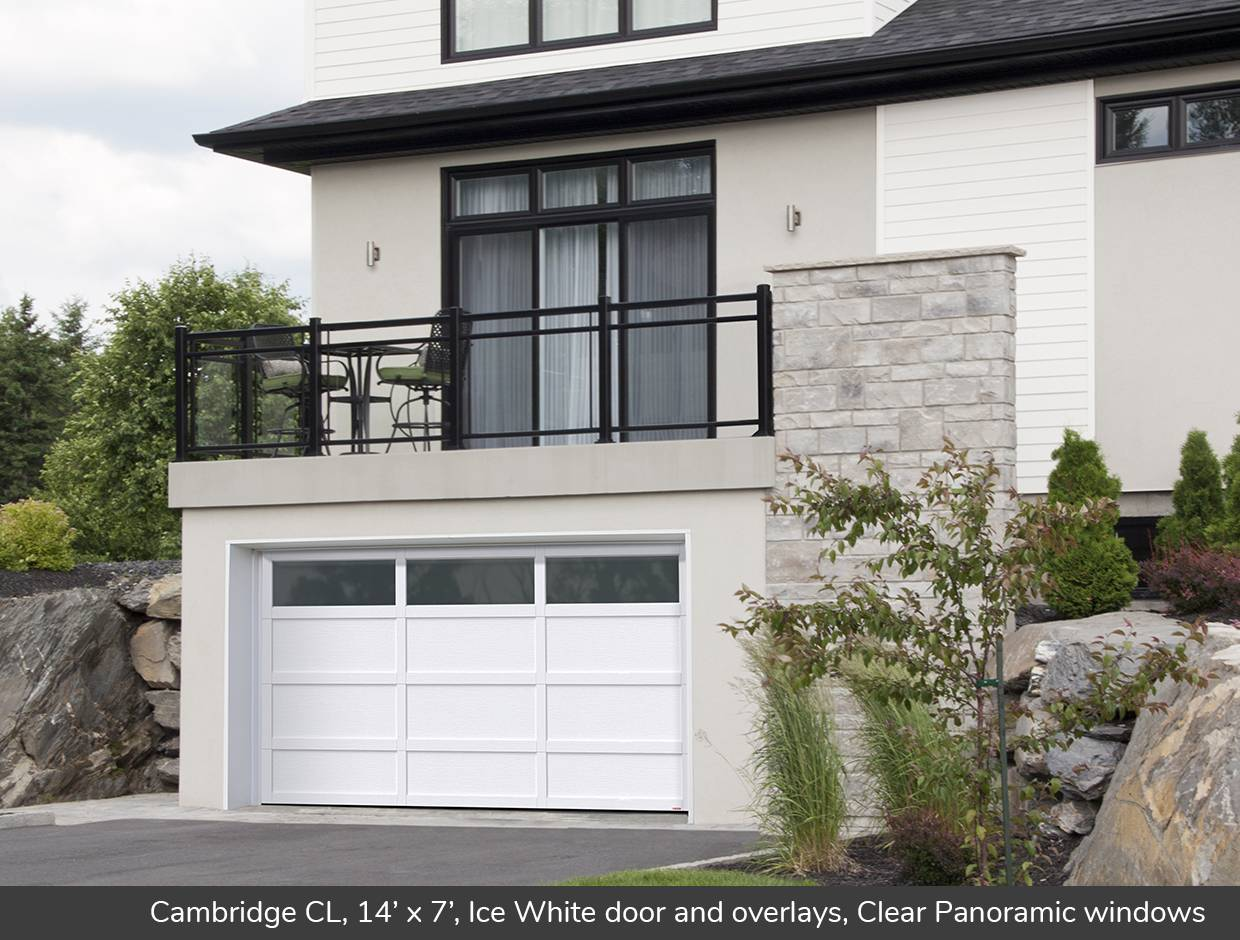 Cambridge CL, 14' x 7', Ice White door and overlays, Clear Panoramic windows
